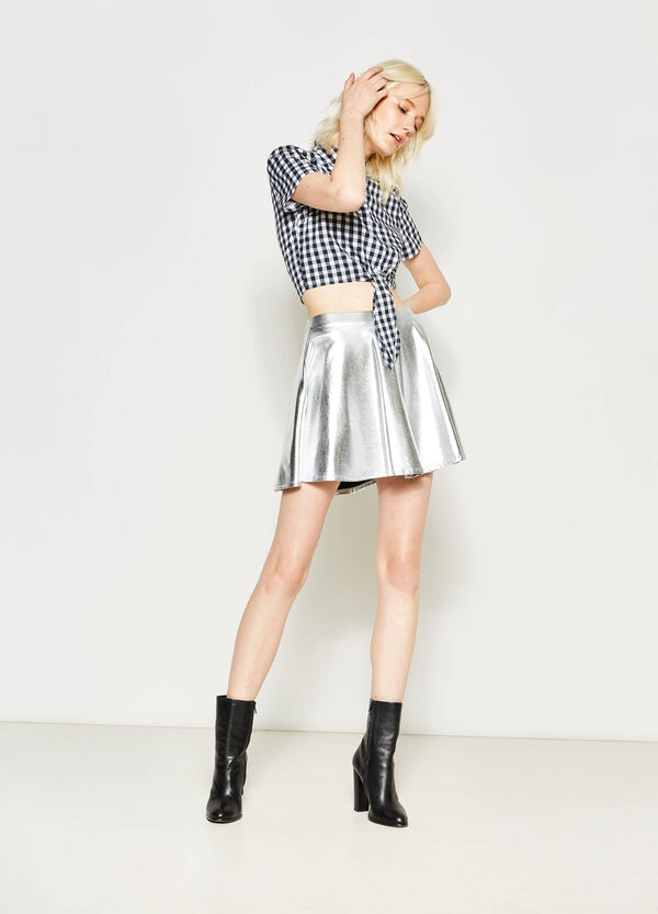 High-waisted shiny stretch skirt | OVS