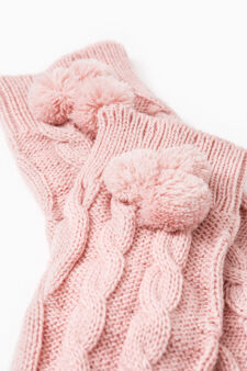 Knitted leg warmers with pompoms, Pink, hi-res