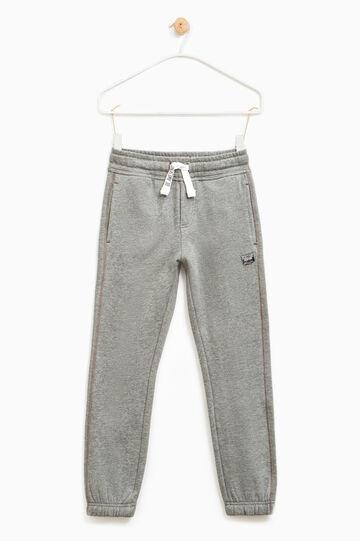 Pantaloni tuta puro cotone con patch, Grigio scuro melange, hi-res