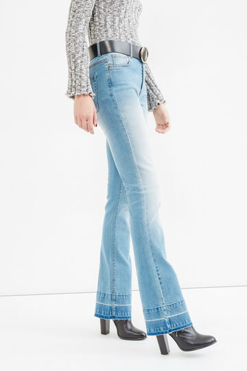 Faded-effect stretch bootcut jeans, Medium Wash, hi-res