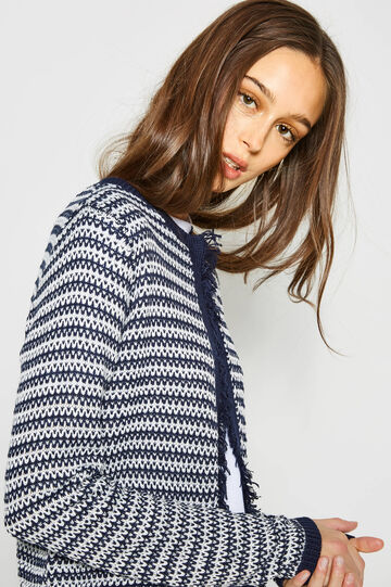 Patterned knitted cardigan with fringe, White/Blue, hi-res