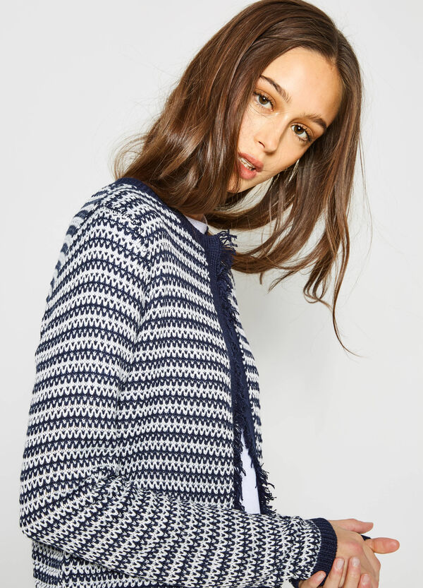 Patterned knitted cardigan with fringe | OVS