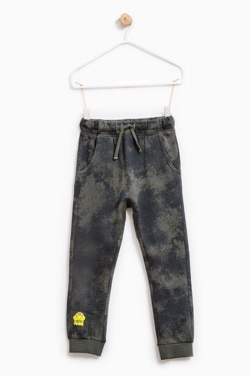 Printed joggers in 100% cotton, Green, hi-res