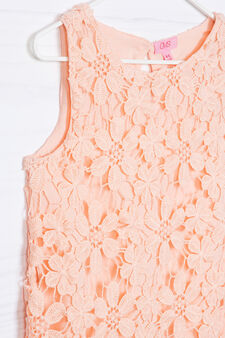 Sleeveless embroidered dress with openwork, Peach Orange, hi-res