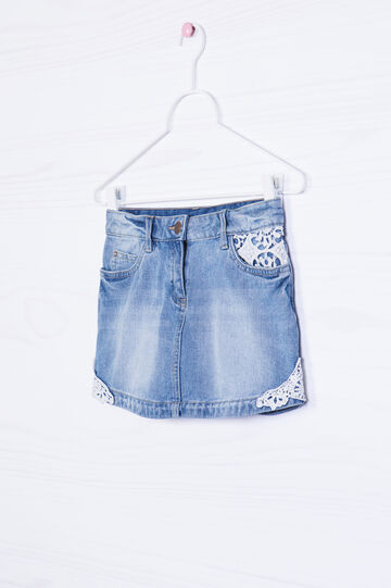 Stretch denim skirt with inserts, Light Blue, hi-res