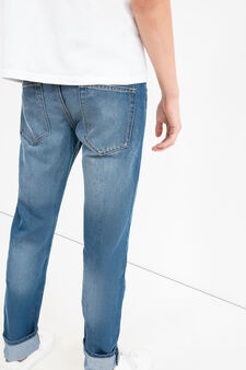 Worn-effect slim-fit jeans with whiskering, Denim, hi-res