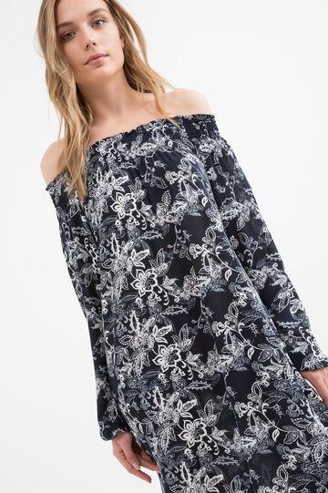 100% viscose dress with print, Dark Blue, hi-res