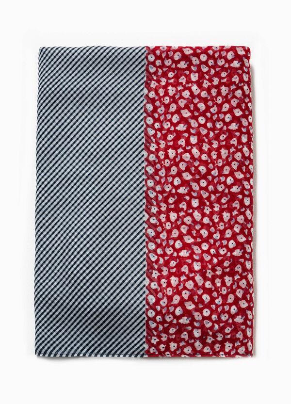 Bufanda bicolor con rayas y flores | OVS