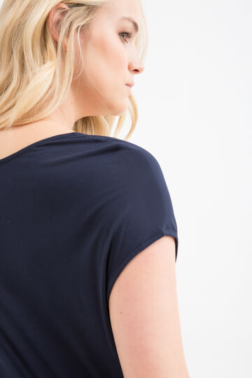 Curvy T-shirt with diamantés in 100% viscose, Navy Blue, hi-res