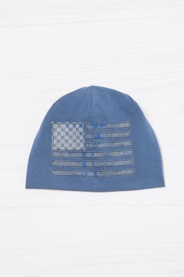 Cappello a cuffia cotone ricami, Blu, hi-res