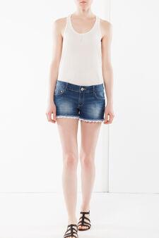 Denim shorts with lace, Medium Wash, hi-res