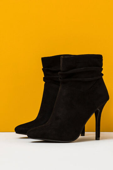 Solid colour suede ankle boots., Black, hi-res