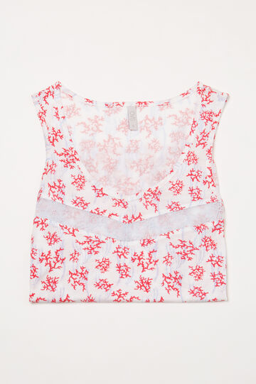 Printed viscose pyjama vest top, White, hi-res