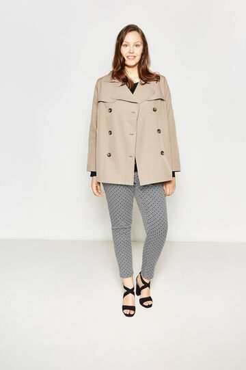 Curvy double-breasted trench coat in cotton, Khaki, hi-res