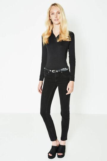 Jeans slim fit stretch tinta unita, Nero, hi-res