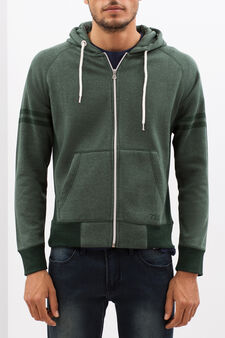 Hoodie with tone-on-tone detailing, Light Green, hi-res