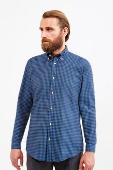 Regular-fit formal check shirt, Dark Blue, hi-res