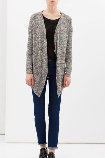 Buttonless cotton cardigan, Black, hi-res