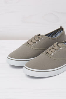 Solid colour lace-up sneakers, Light Grey, hi-res