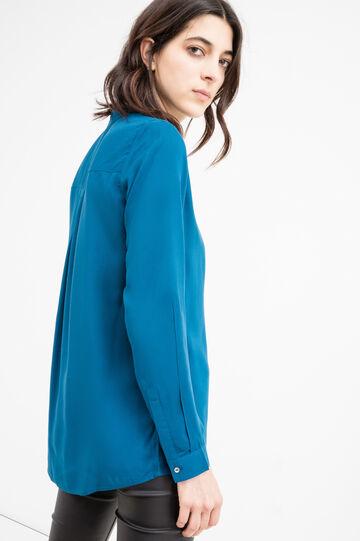 Solid colour 100% viscose blouse., Petrol Blue, hi-res