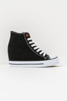 Sneakers with internal wedge, Black, hi-res