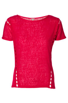 Smart Basic solid colour T-shirt with inserts, Fuchsia, hi-res