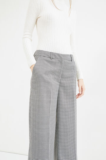Hounds' tooth pattern palazzo trousers., Black/White, hi-res