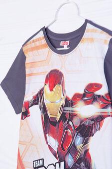 T-shirt puro cotone stampa Iron Man, Grigio antracite, hi-res
