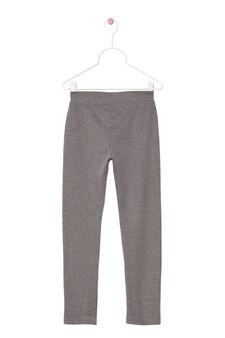 Leggings in cotone stretch, Grigio melange, hi-res