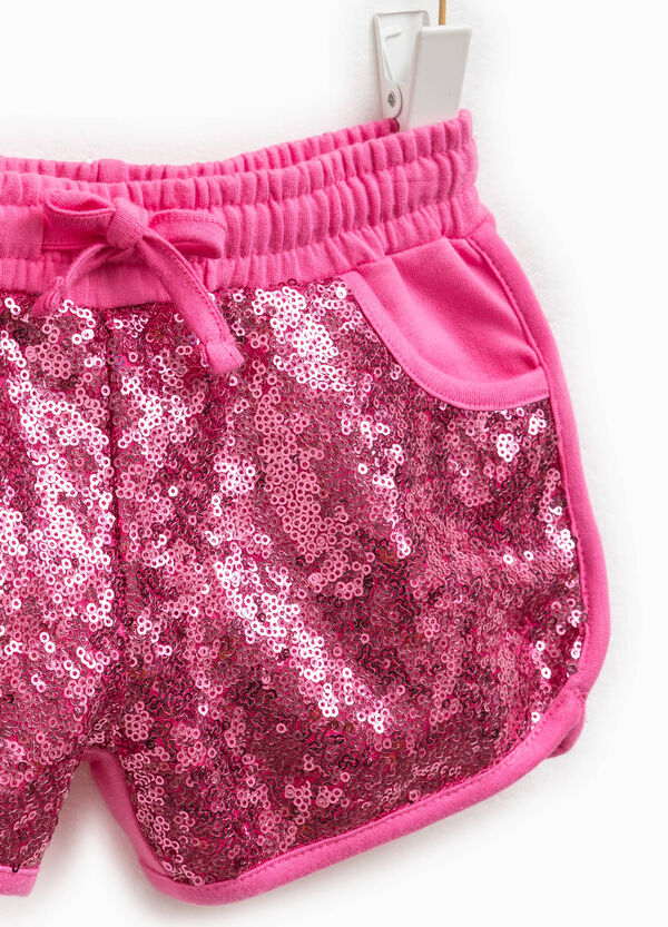 Stretch cotton shorts with sequins | OVS