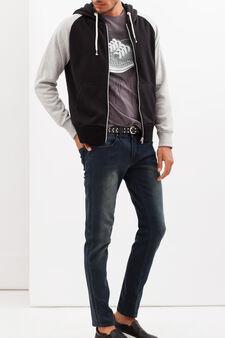Hoodie with contrasting sleeves, Black/Grey, hi-res