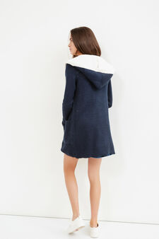 Teen knit cardigan with shawl collar, Blue, hi-res