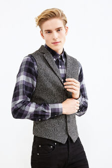Viscose blend waistcoat with contrasting back, Black/Grey, hi-res