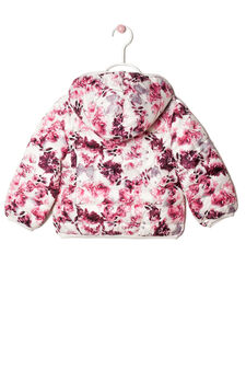 Down jacket in patterned nylon, Dark Pink, hi-res