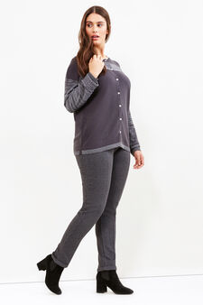 Curvy ribbed cardigan with glitter inserts, Grey Marl, hi-res