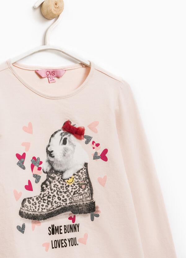 Camiseta en algodón elástico con estampado con purpurina | OVS