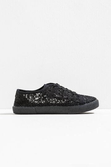 Semi-sheer lace sneakers, Black, hi-res