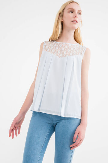 Pleated blouse with lace insert, Grey, hi-res