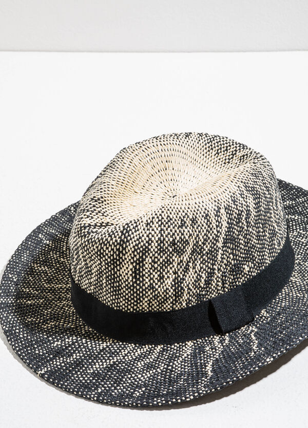 Two-tone straw hat with wide brim | OVS