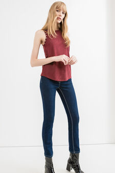 Viscose blend top with eyelets, Dark Red, hi-res