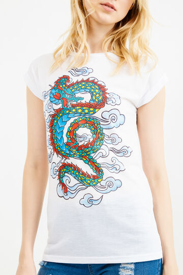 T-shirt with dragon print, White, hi-res