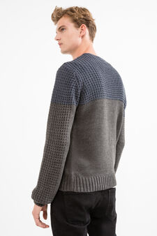 Pullover with knitted design., Grey/Blue, hi-res