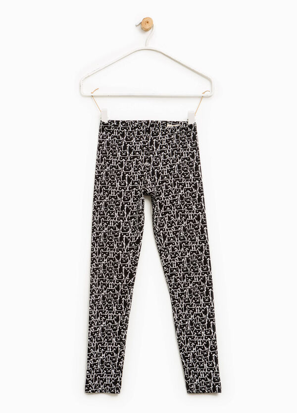 Stretch leggings with cats pattern | OVS