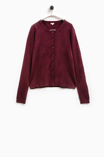 Smart Basic solid colour cardigan, Aubergine, hi-res