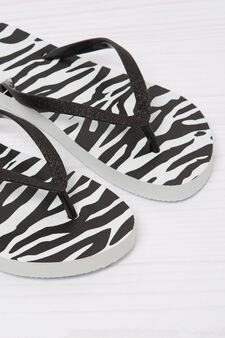Animal print thong sandals., White/Black, hi-res