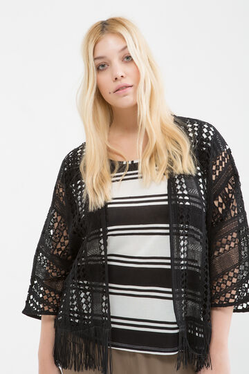 Curvy cotton cardigan with fringe, Black, hi-res