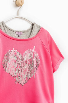 Double cotton top with sequins, Fuchsia, hi-res