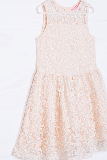 Lace dress with embroidery and diamanté details, Pink, hi-res