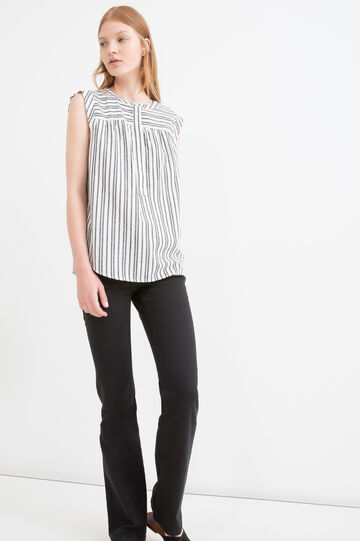 Striped patterned sleeveless blouse, White/Grey, hi-res