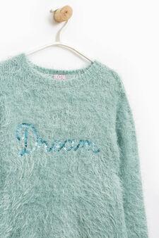 Shaggy sequinned pullover, Aqua Blue, hi-res